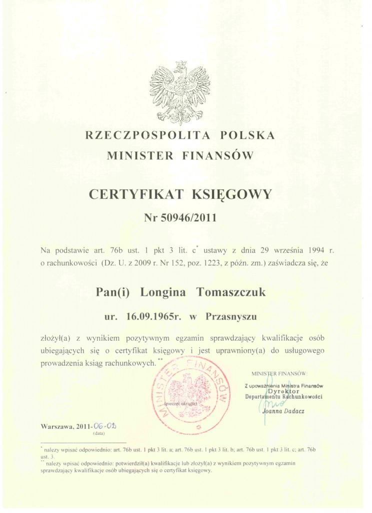Żółty certyfikat potwierdzający usługi rachunkowe w Grodzisk Mazowiecki